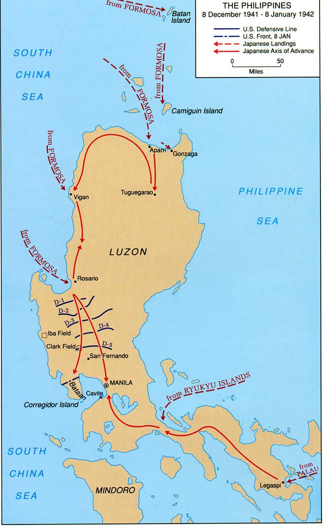 Invasion japonaise des Philippines du 8 décembre 1941 au 8 janvier 1942