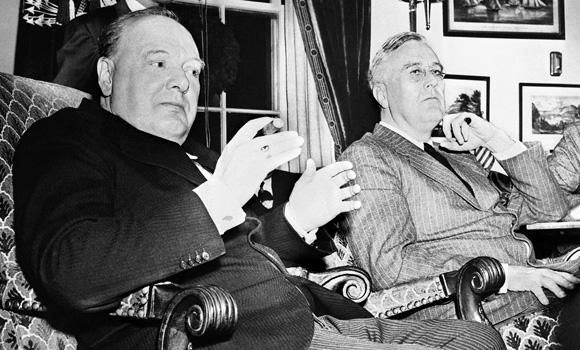 Roosevelt et Churchill à la conférence Arcadie