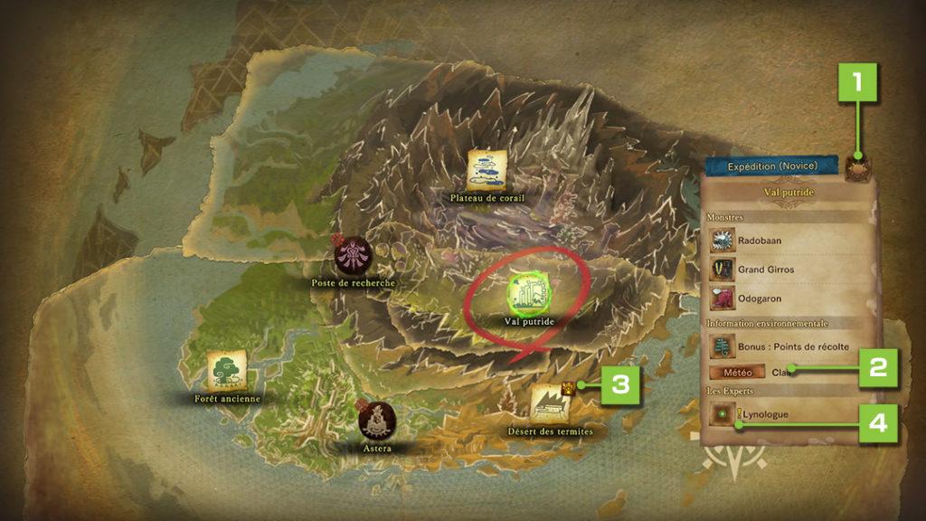 carte du monde monster Hunter World