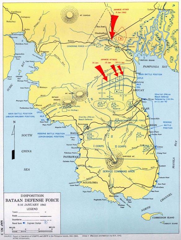 Carte de Bataan et des dispositifs de défense américains