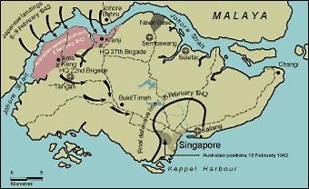 Carte de la bataille et du siège de Singapour