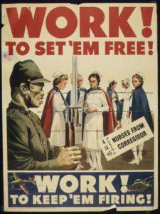 Poster de propagande américain opposant un soldat japonais aux traits caricaturés à des infirmières détenues à Corregidor