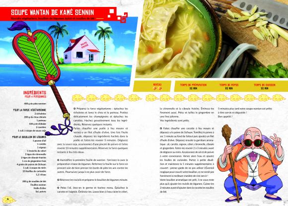 Exemple de double-page du livre de recettes Dragon Ball