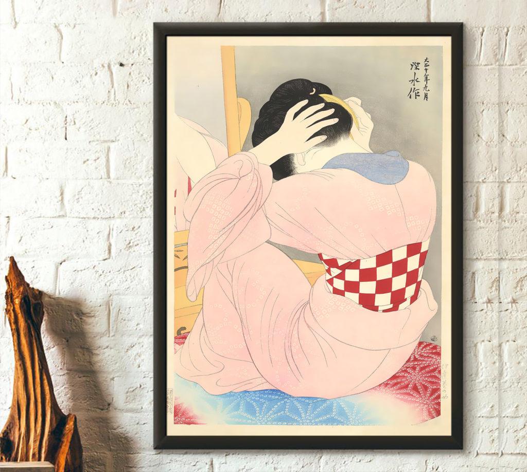 Estampe d'une femme japonaise de Ito Shinsui