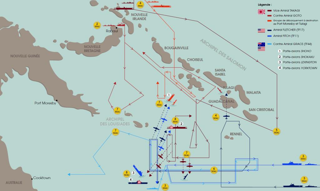 Carte de la bataille de la mer de Corail