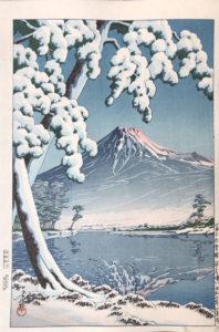 Estampe de HASUI : Temps clair après une chute de neige au Mont Fuji – Baie de Tagonoura