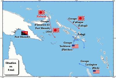 Situation en mer de Corail le 4 mai