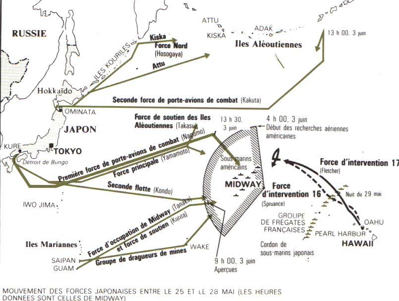Carte de la bataille de Midway