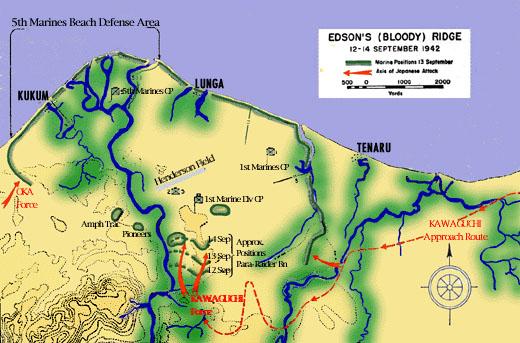 Carte de la bataille de la crête d'Edson