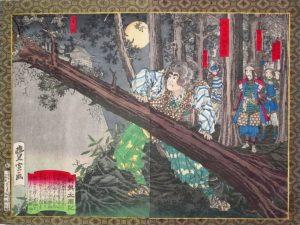 Estampe de Toyonobu Utagawa représentant Horio Yoshiharu menant Hideyoshi et son équipe