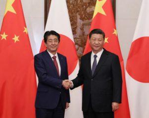 Jinping Xi et Shinzō Abe le 26 octobre 2018