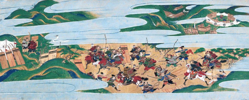 Peinture d'une bataille durant la guerre d'Ōnin