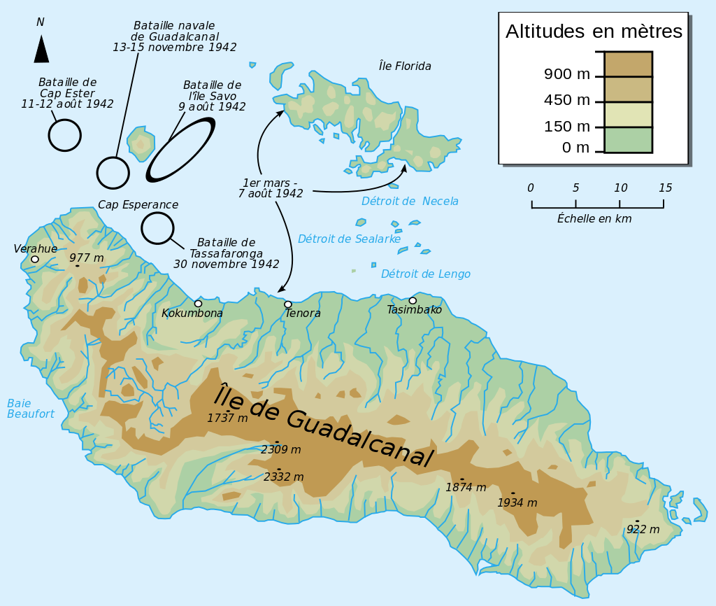 Routes des forces amphibies alliées lors du débarquement sur Guadalcanal et Tulagi, le 7 août 1942 et batailles navales de Guadalcanal.