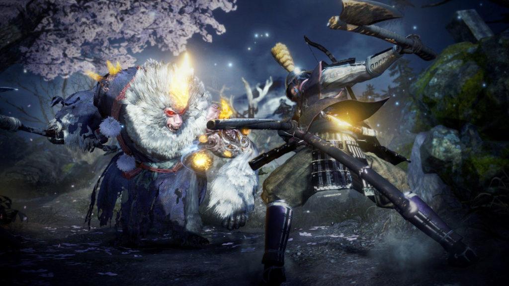 Combat contre un Enki, yôkai simiesque