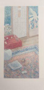 Bureau peint par Sôseki, extrait de Haïkus de Sôseki aux éditions Picquier