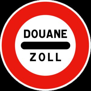 Panneau de signalisation d'un poste de douane en France