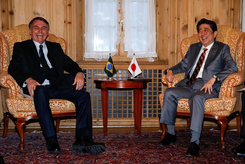Shinzo Abe et Jair Bolsonaro durant le Forum économique mondial 2019