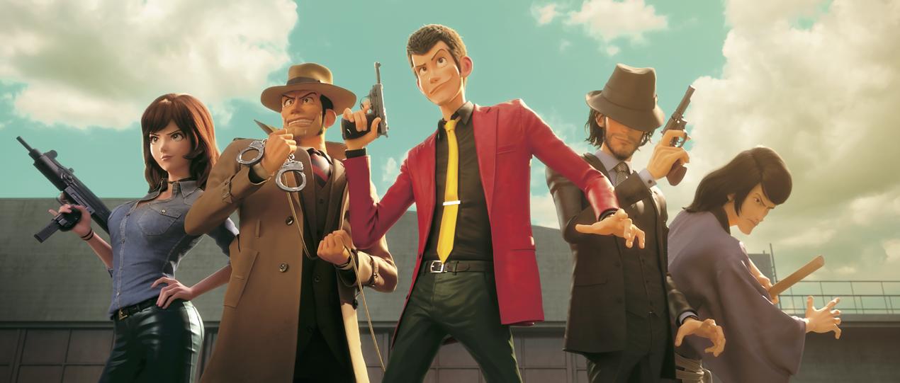 Lupin III accompagné de ses acolytes Jigen, Goemon et Fujiko avec l'inspecteur de police