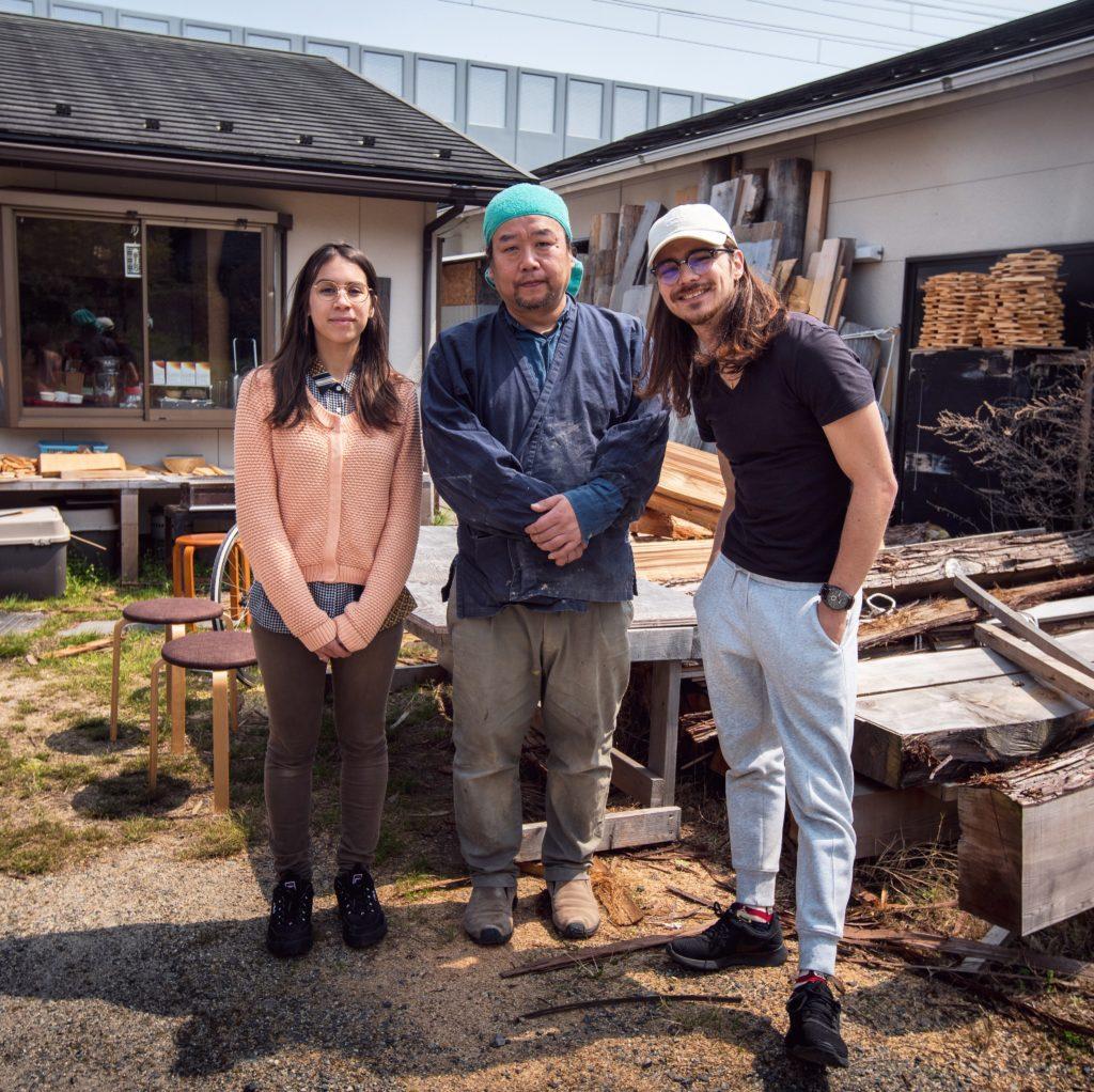 Amandine, Nakagawa-san et Rodolphe, lors du tournage du portrait de l'ébéniste ©80JoursJapon