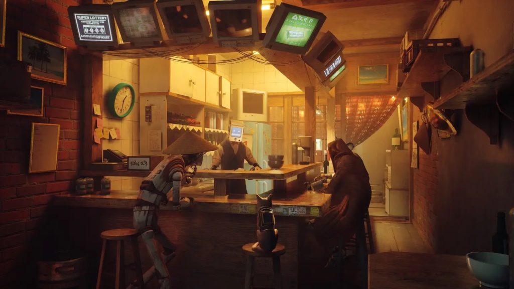 Stray, un chat avec des robots au comptoir d'un bar
