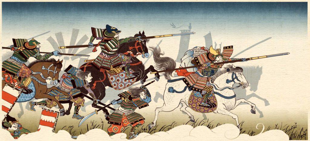 Dessin d'une bataille lors de l'époque Sengoku tiré du jeu Total War : Shogun 2