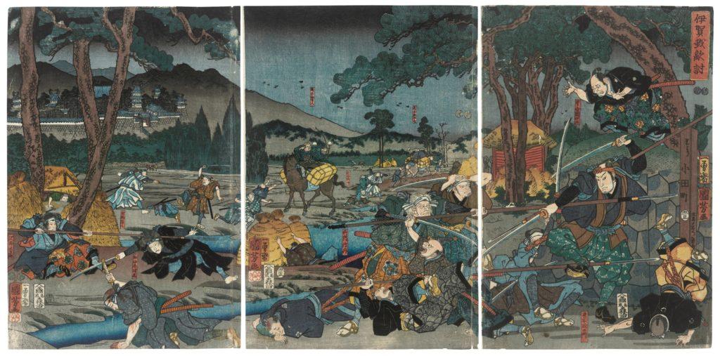 Estampe de Utagawa Kuniyoshi Igagoe katakiuchi (Vengeance au passage d'Iga)