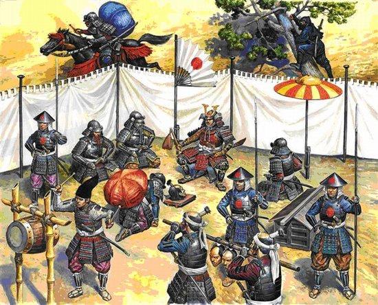 Etat major de l'armée d'un daimyo