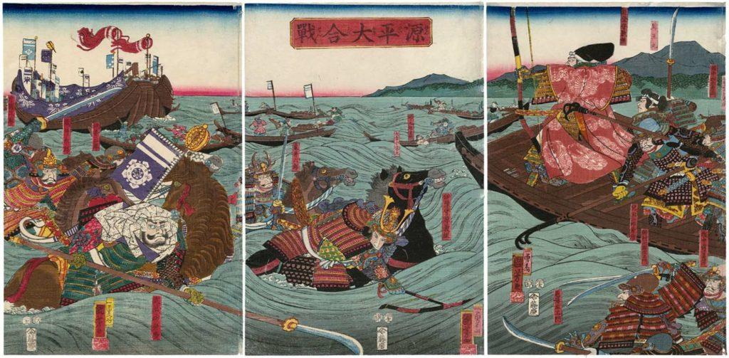Ukiyo-e de Utagawa Kuniyoshi représentant la guerre de Gensei opposant les Minamoto et Taira
