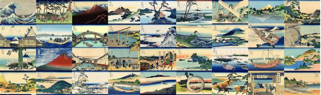 Les 36 vues du mont Fuji par Hokusai en 1820