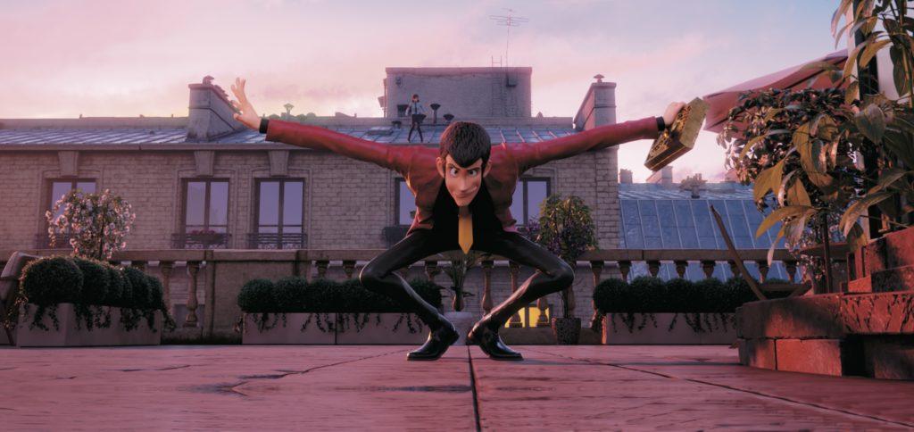 Lupin III qui fait le singe sur le toit