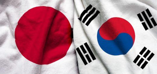 Drapeaux du Japon et de la Corée du Sud