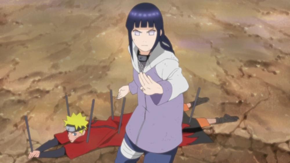 Hinata protégeant Naruto