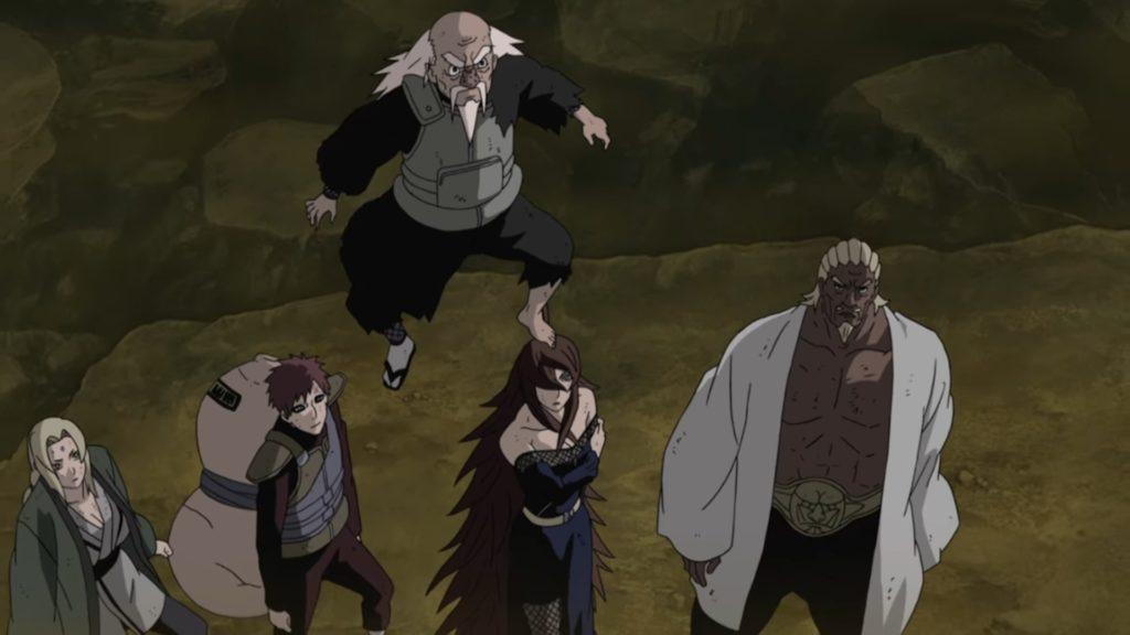 Les cinq Kage face à Madara Uchiha