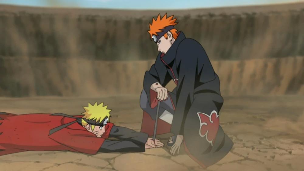 Naruto cloué au sol par Pain