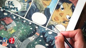 La fête des ombres, détail de peinture par Atelier Sentô, éditions Issekinicho