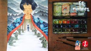 La fête des ombres, peinture de la couverture par Atelier Senôt, éditions Issekinicho