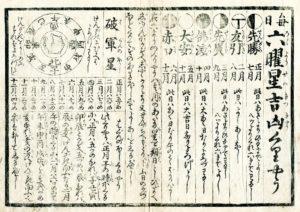Calendrier rokuyo de l'époque Edo (Date inconnue)